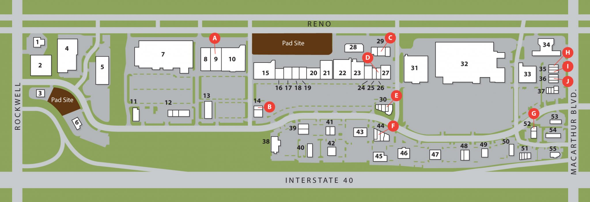 illustrated overhead view map of the westgate marketplace and its current availabilities and tenants